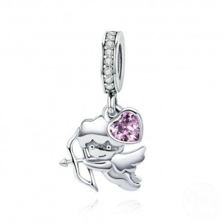 Zilveren hangende bedel Cupido met roze hart