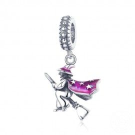 Sterling silver pendant charm Magic witch