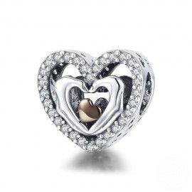 Charm en plata de Ley Corazón con los dedos