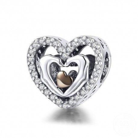 Sterling silver charm Heart with fingers