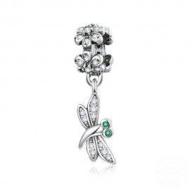 Charm pendente in argento Farfalla con fiore margherita