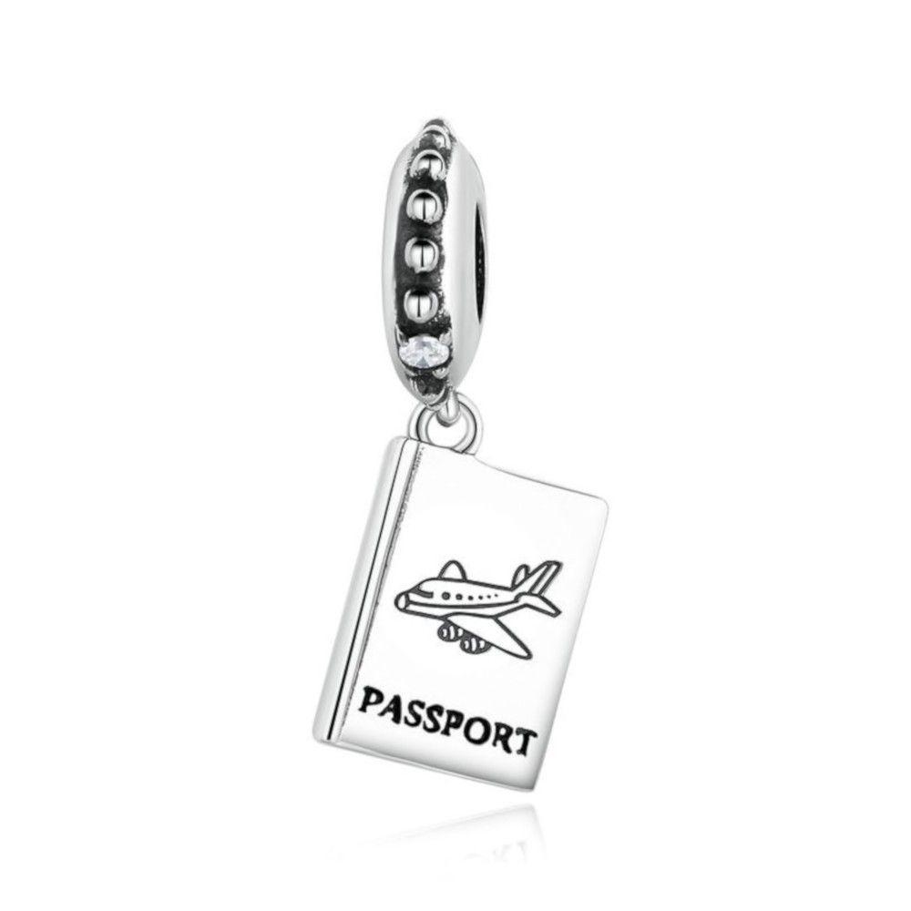 Zilveren hangende bedel Paspoort vliegtuig