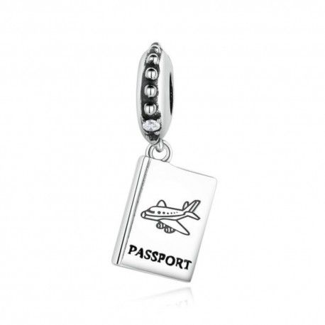 Sterling silver pendant charm Passport airplane
