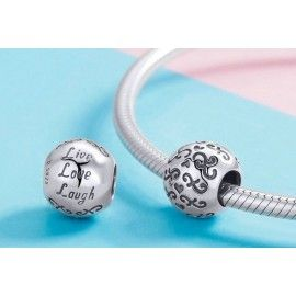Sterling silver charm Live love laugh