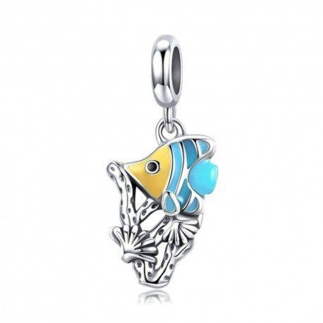 Zilveren hangende bedel Tropische vis met emaille