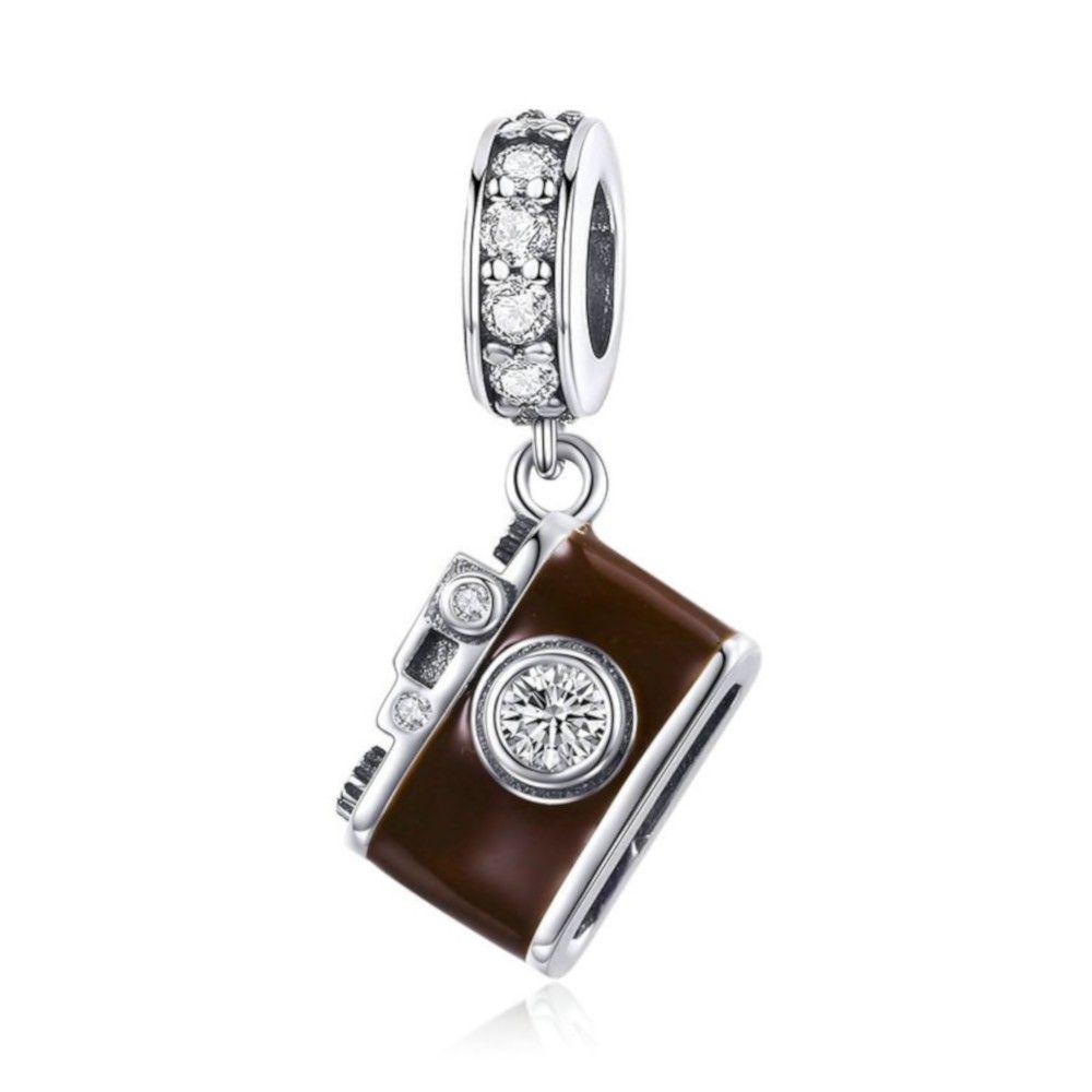 Zilveren hangende bedel Bruine camera