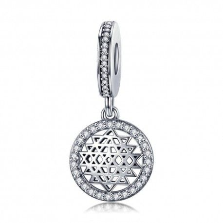 Sterling silver pendant charm Geometric round