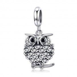 Charm pendente in argento Gufo di cristallo