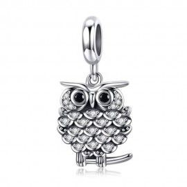 Sterling silver pendant charm Crystal owl