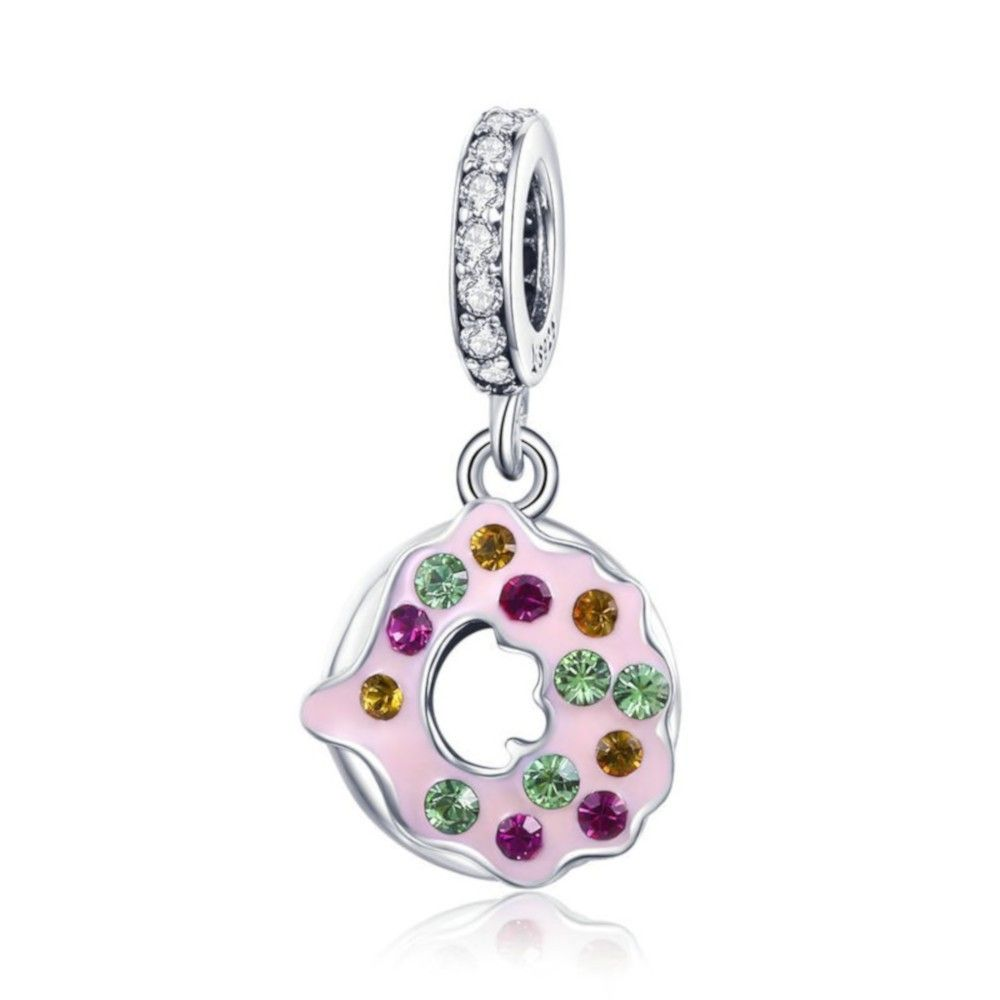 Sterling silver pendant charm Donut