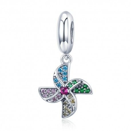 Sterling silver pendant charm Colorful windmill