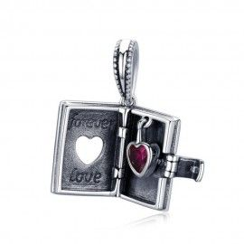 Sterling silver pendant charm Book with heart