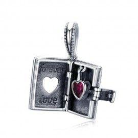Zilveren hangende bedel Boek met hart