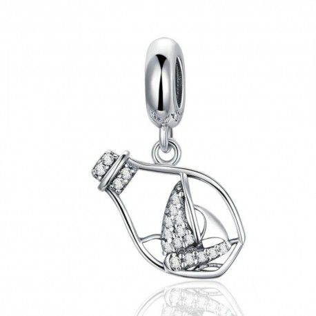 Sterling silver pendant charm Floating bottle