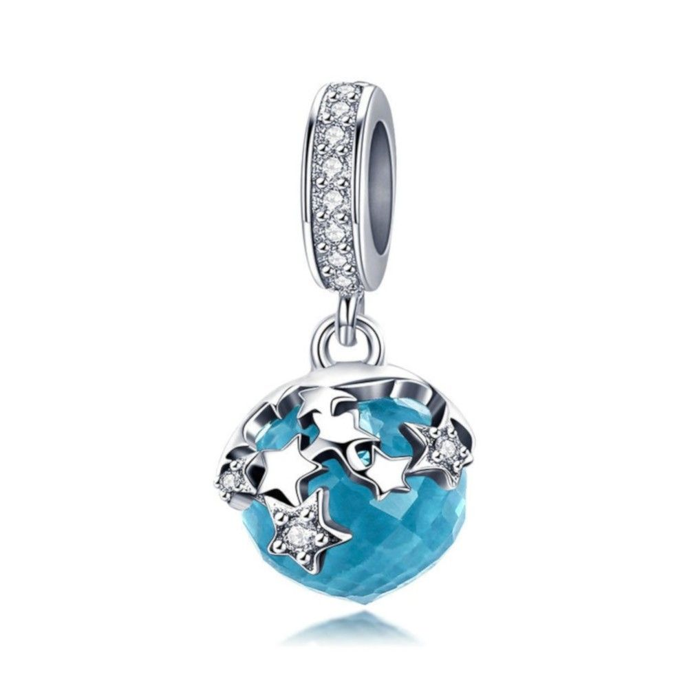 Sterling silver pendant charm Blue crystal star
