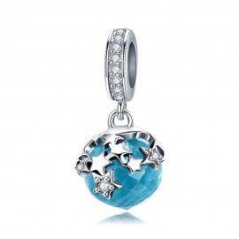 Zilveren hangende bedel Blauwe kristallen ster