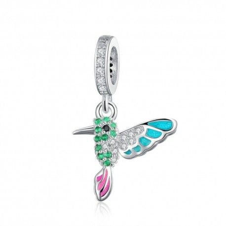 Sterling silver pendant charm Green warbler