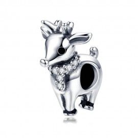 Sterling silver charm Christmas elk