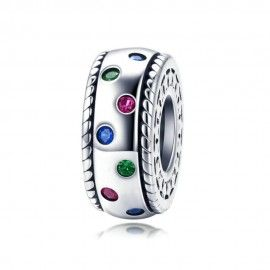 Sterling silver spacer Colorful rainbow