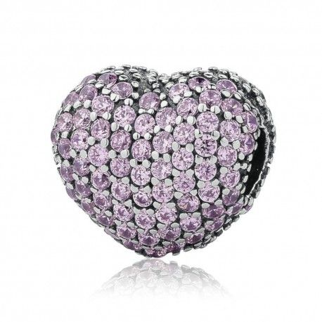 Zilveren clip Roze hart