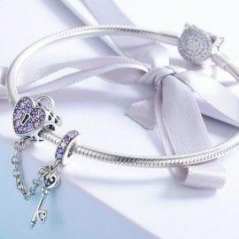 Zilveren veiligheidsketting Sleutel tot je hart