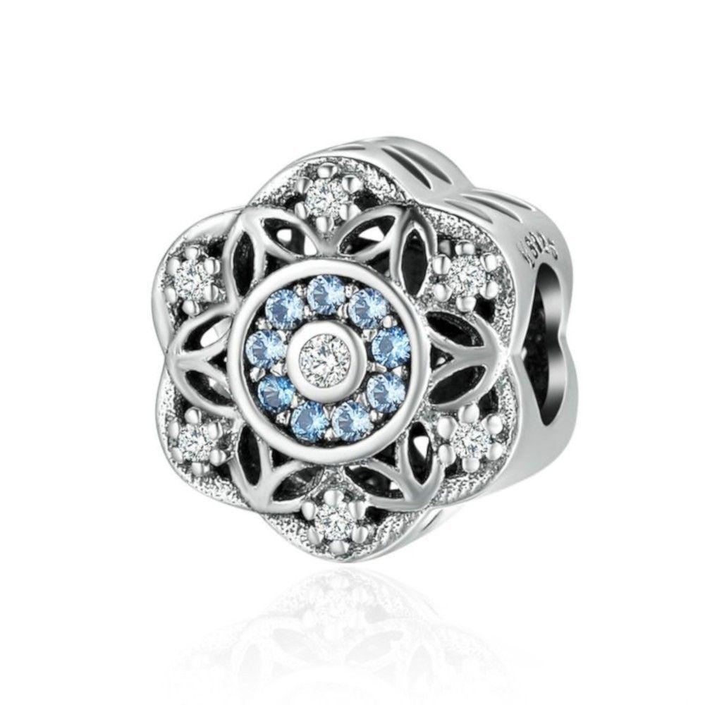 Zilveren bedel Glimmende sneeuwvlok