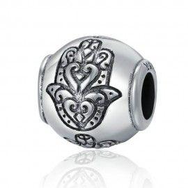 Zilveren bedel Bal met Fatima hand