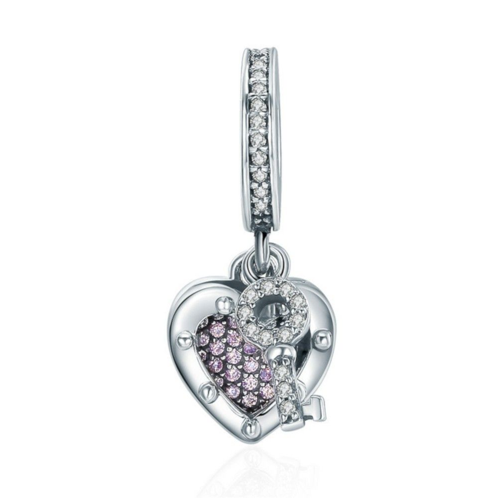 Sterling silver pendant charm Key with lock of true love