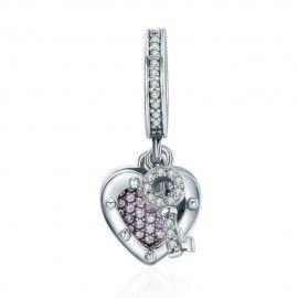 Zilveren hangende bedel Sleutel met slot van ware liefde