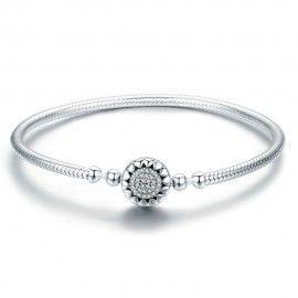 Bracelet en argent (S925) Coeurs lumineux