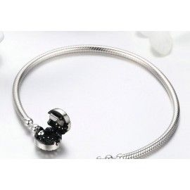 Sterling zilveren bedelarmband met glimmende clipsluiting Heldere hartjes
