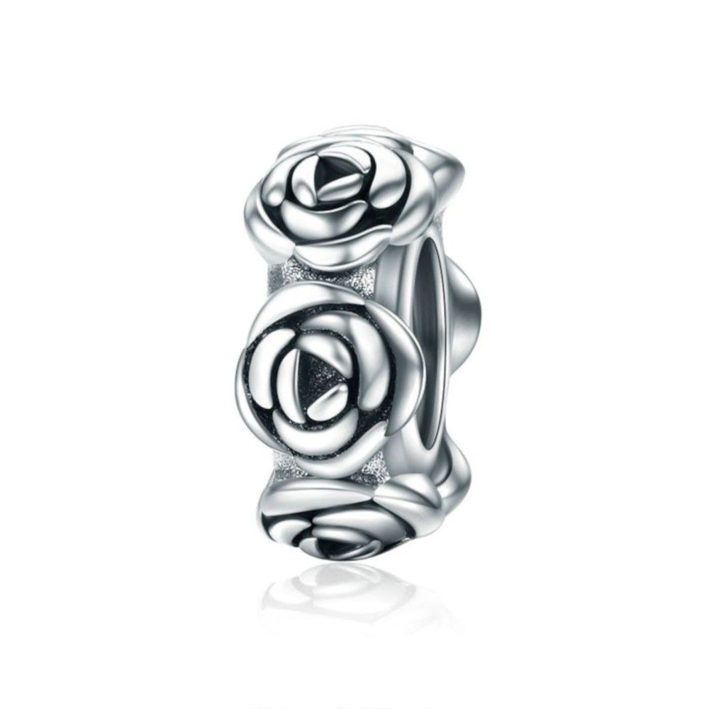 Sterling silver spacer Romantic rose