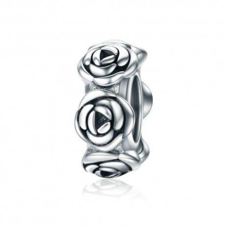 Zilveren spacer Romantische rozen