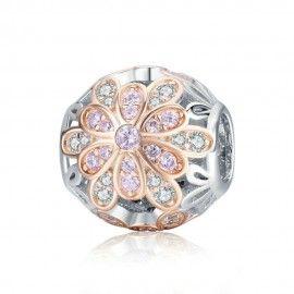 Sterling silver charm Rose gold flower