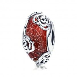 Sterling silver charm Red glass with roses