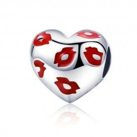 Sterling silver charm Kissing lips