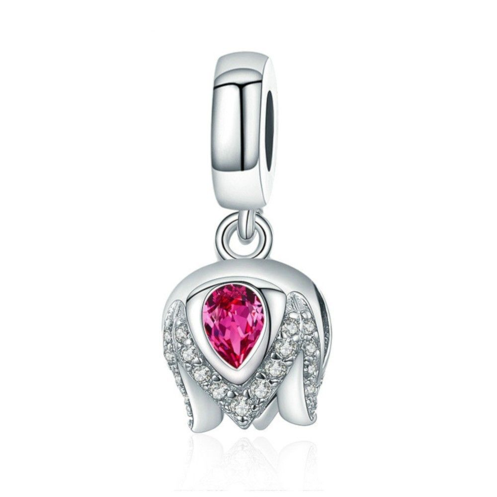 Sterling silver pendant charm Exquisite tulip