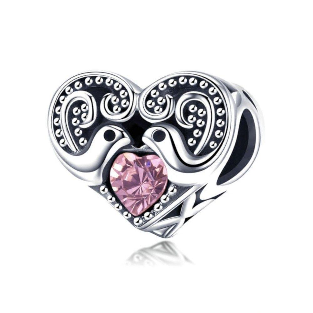 Zilveren bedel Love Messenger hart