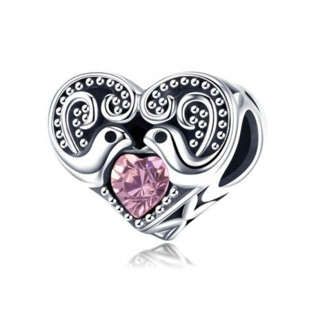 Sterling silver charm Love messenger heart