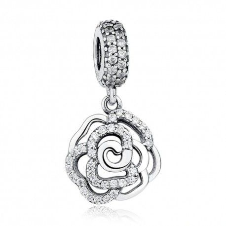 Sterling silver pendant charm Autumn rose