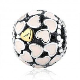 Sterling Silber Charm Ball mit goldenes Herz