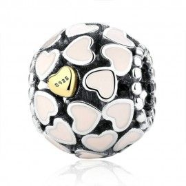Sterling silver charm Ball with golden heart
