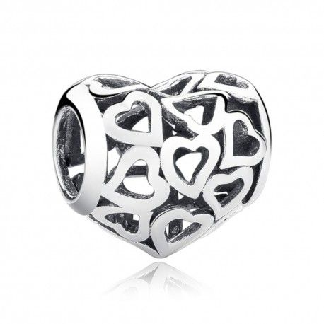 Sterling silver charm Lots of hearts