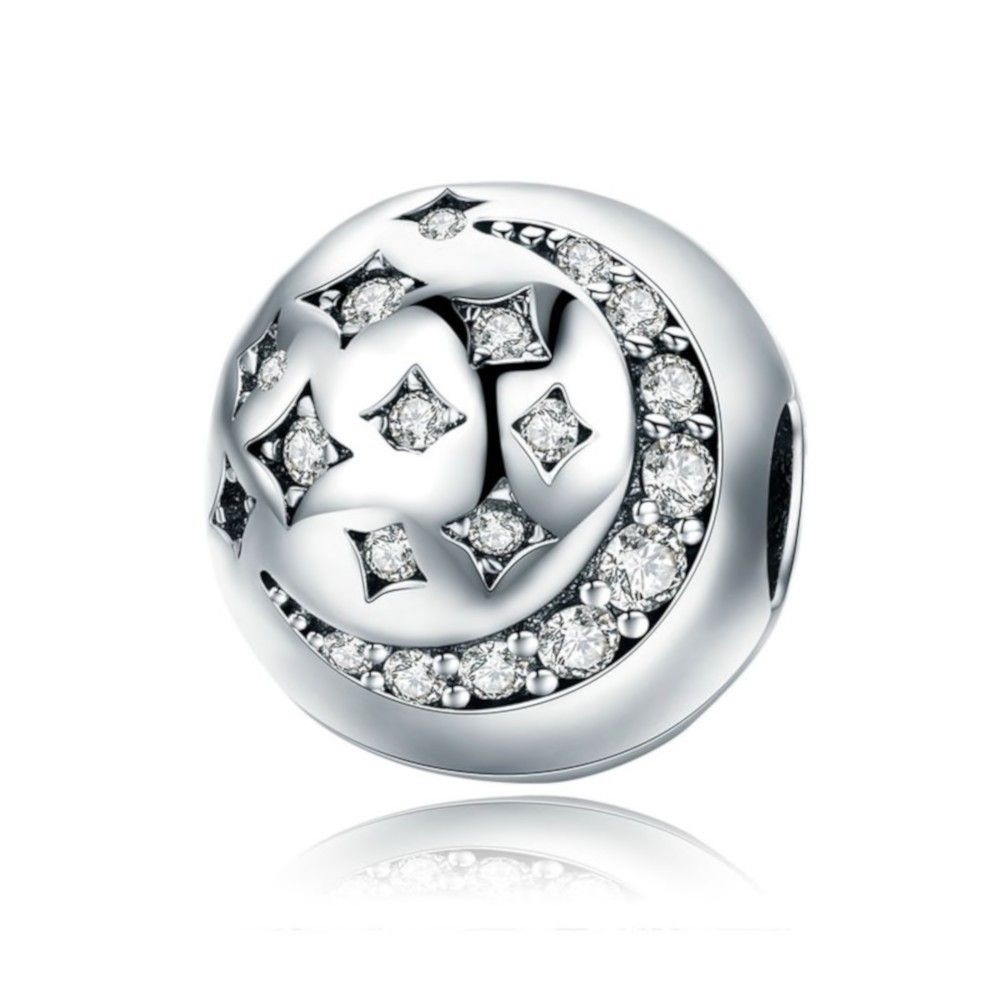 Zilveren clip Maan en ster