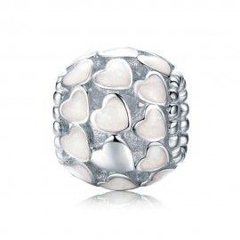 Charm in argento Cuori di smalto bianco