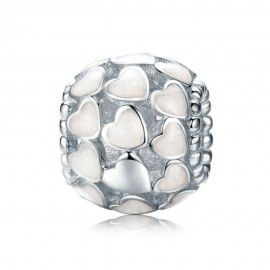 Sterling silver charm White enamel hearts
