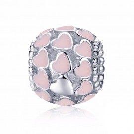 Charm en plata de Ley Corazones de esmalte rosa