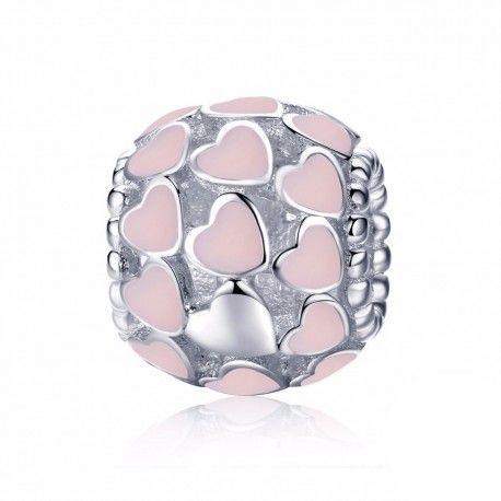 Sterling silver charm Pink enamel hearts