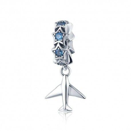 Zilveren hangende bedel Vliegtuig