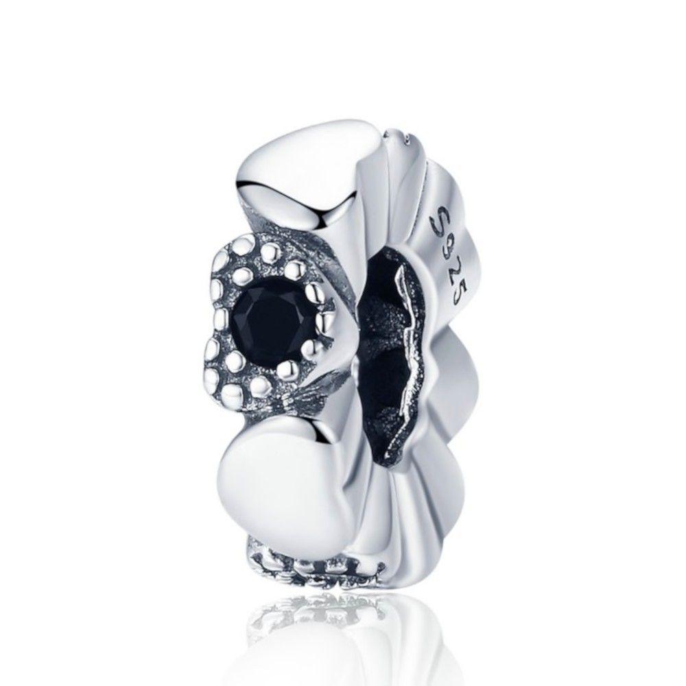 Sterling silver spacer Black heart